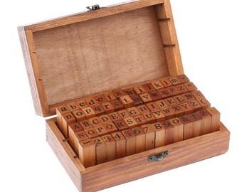 Antique Alphabet Stamp Set - Wooden Rubber Stamp Set
