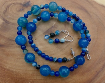 20 Inch Chunky Faceted Blue Turquoise Striped Agate Necklace with Earrings