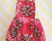 vintage red and white polka dot checkered floral sunsuit playsuit for baby size 12-18 months / one year 1