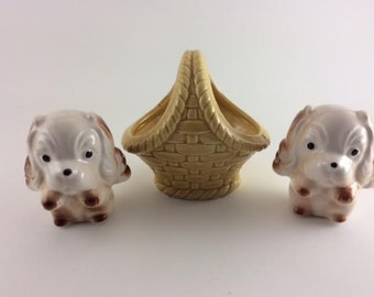 Spaniel Puppies in a Basket Dogs in a Basket Salt & Pepper Shakers Made in Japan Adorable