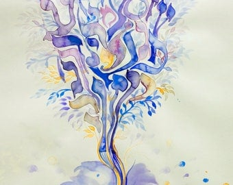 Hebrew Alphabet tree of life by Sandrine Kespi- hebrew letters- print on paper 160gr minimum-registered mail-custom possible