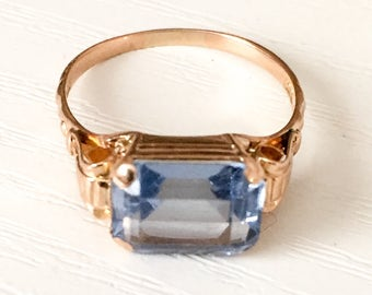 Aquamarine Ring 18K Gold, German Art Deco Vintage Jewelry