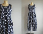Reserved - Vintage Laura Ashley Jumpsuit / 1980s Navy and White Polka Dot Wide Leg Palazzo Pants / Beach Pajamas Romper