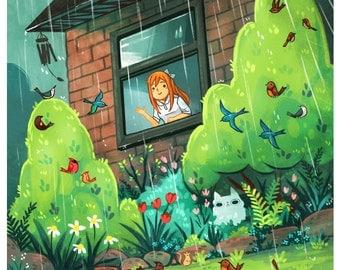 spring day print, 8 by 10 print, illustration, artwork, garden art, flowers, kids room