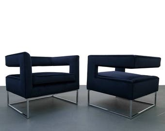 Pair of Mid Century Chrome and Velvet Open Back Cube Chairs by Thayer Coggin