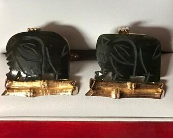 Rare Original Vintage SWANK Jade Elephant Cufflinks