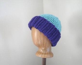 Super Chunky Hat, Purple and Aqua, Hand Knit Hat, Knitted Beanie, Soft Merino Wool, Bold Statement Hat, Women & Teen Girls