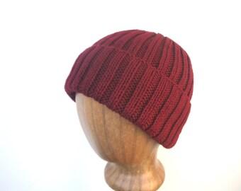 Wine Red Hat, Hand Knit Beanie, Watch Cap, Peruvian Wool, Mens Knit Hat, Warm Winter Hat, Stocking Cap, Cordovan Red