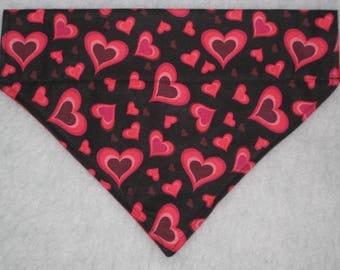 Heart Dog Bandana - READY TO SHIP - Dog Scarf - Over the Collar Bandana