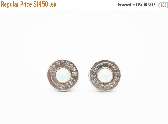 25% OFF SALE Bullet Earrings . 357 Magnum Nickel Plated Brass . Opal