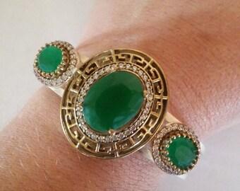 Gorgeous Emeralds White Topaz Silver Sterling Turkish Bangle