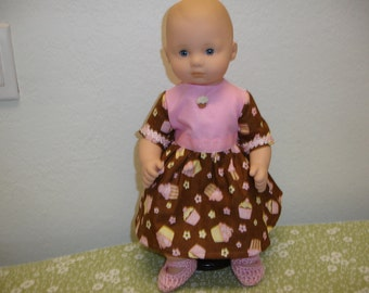 Am Girl Style Itty Bitty Baby Brown/Pink Cupcake Print Cotton Dress & Slippers