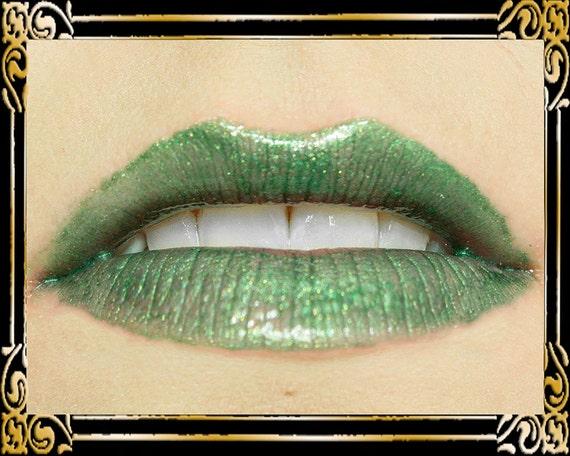 EDEN Lip Gloss: 10 mL Tube, Forest Green, Gold Shimmer Lip Glaze, Emerald Glitter Lip Color, VEGAN Cosmetics, Ships Out in 6-10 Days