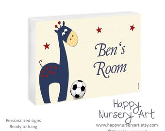Soccer ball giraffe door sign, basketball nursery sign, custom name,baby boy personalized name sign, nursery wooden door plaque, giraffe