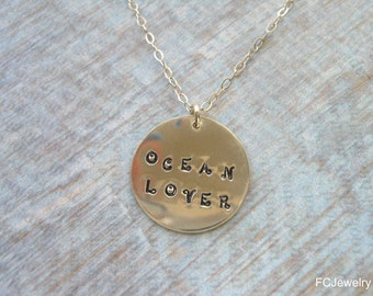 Ocean Lover Necklace, Sterling Silver, Hand Stamped Jewelry, Beach Girl, Summer, Gift for Best Friend,Disk Necklace, Message Jewelry