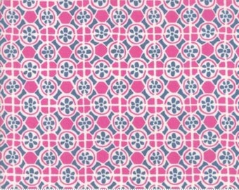 Early Bird by Kate Spain for Moda - Floral - Fountain - Pink - 1/2 Yard Cotton Quilt Fabric