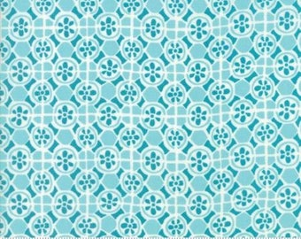 Early Bird by Kate Spain for Moda - Floral - Fountain - Teal - Fat Quarter - FQ - Cotton Quilt Fabric