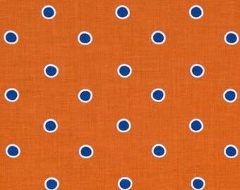 SALE Fox Playground by Dena Designs for Free Spirit - Dots - Orange & Blue - 1/2 Yard Cotton Quilt Fabric