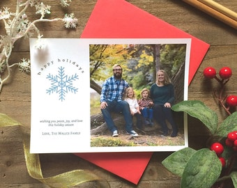5 x 7 Custom Digital or Print Happy Holidays Christmas Card/ Photo Christmas Greeting Card/ FREE SHIPPING