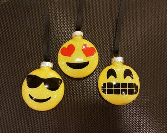 Emoji Glittered Ornaments