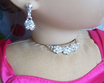 Glittering faux diamond choker and earring jewelry set for 18 inch dolls, flower shape setting, magnetic closure.