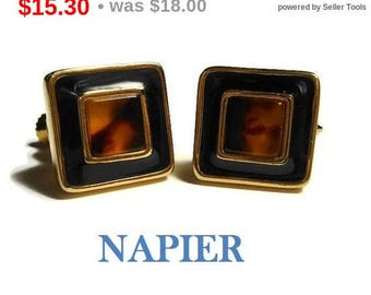 SALE Napier tortoise earrings, 1980s black and gold enamel frame set faux tortoise shell square cabochon screw back earrings