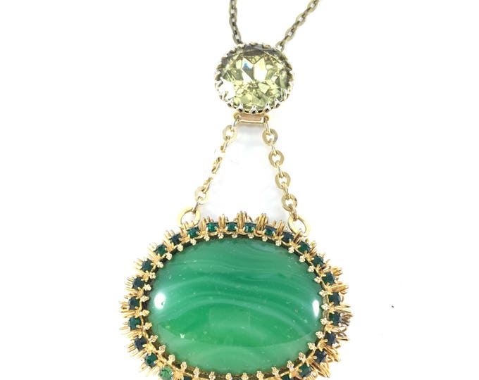 Vintage Green Oval Rhinestone Necklace with Faceted Yellow Glass