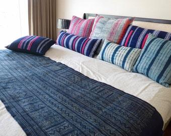 Hemp, Hmong Handwoven Vintage hemp fabric,  textiles and fabrics- Table runner,Bed runners
