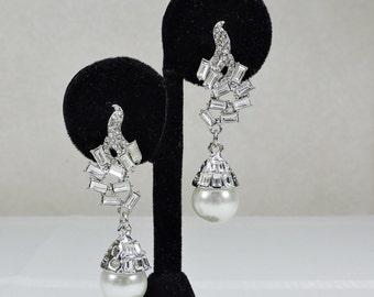 Vintage Pearl and Rhinestone Pierced Earrings