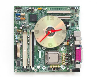 Geeky Wall clock - recycled Computer clock - green circuit board clock - ready to ship c2733