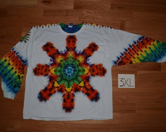 Tie Dye T-Shirt ~ Fire Mandala With White Background ~ C_0114 in Long Sleeve XXXL