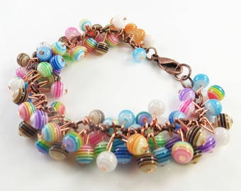 Striped cha cha bracelet with copper