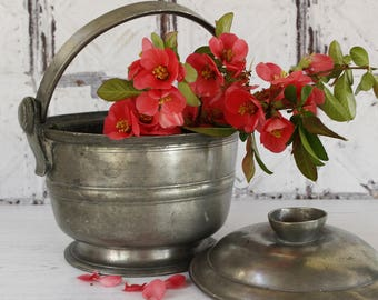French Antique Pewter Ice Bucket With Lid...Monogram RM....Shabby Chic...Nordic Living.