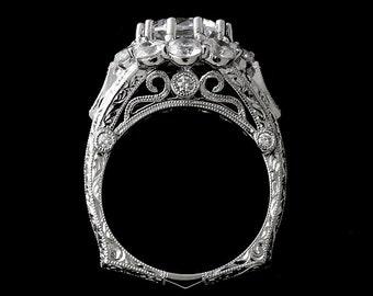 Flower Euro Shank Engagement Ring, Forever One Moissanite Halo Ring, Filigree Floral Diamond Proposal Ring, Hand Engraved Milgrain Gold Ring