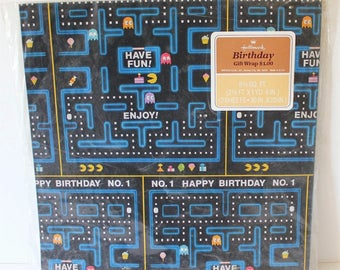 Vintage PACMAN 1980s HALLMARK Birthday Gift Wrap - Video Game Wrapping Paper (2 MIP Unused Sheets)