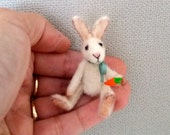 Bonny - OOAK rabbit tiny bunny, artist bunny, collectible, antique style, felted rabbit, miniature bunny, Blythe bunny, dollhouse bunny