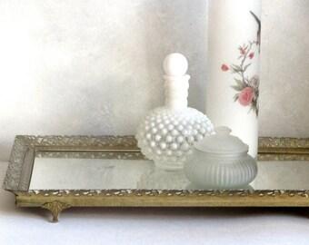 Gold Filigree Mirrored Glass Vanity Tray Ormolu Framed Dresser Table Bathroom Perfumes Boudoir Decor