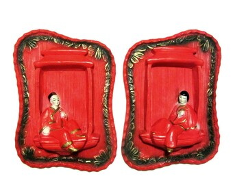 Asian Theme Chalkware Pair Oriental Couple Pagoda Window Red and Gold Biomorphic Era 50's Mid Century Dimensional Art