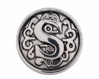 1 PC - 12MM Letter S Alphabet Silver Charm for Snap Jewelry Ks5021-s Cc3060