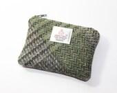 Harris Tweed purse, coin purse, change purse, grey/green/black/brown Herringbone pattern