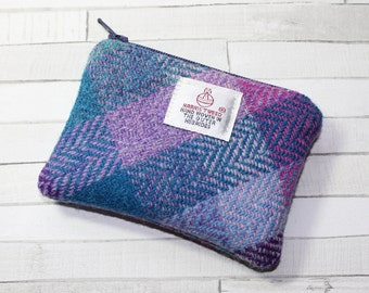 Harris Tweed coin purse, change purse, purple/lilac/ turquoise/teal check pattern