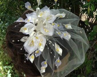 Bridal Veil Set, Ivory Fascinator Veil, Calla Lily Cage Veil, Birdcage Fascinator, REX173034