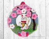 Door wreath, Lucky Cat, Maneki Neko,