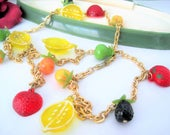 Fruit Salad Necklace - Signed  Hong Kong - Lucite Dangling Fruits - 34 Inches
