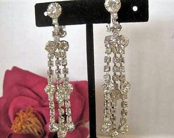 Rhinestone Chandelier Earrings -  3 Inch Long Holiday Evening - Long Dangle Clip Ons