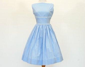 20% OFF SALE 50's/60's Custom Fit and Flare Dress, Retro Blue Gingham Dress, Lady Dress