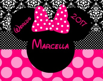 Personalized Beach Towel - Minnie Mouse Damask/Polka Worlds Cheer