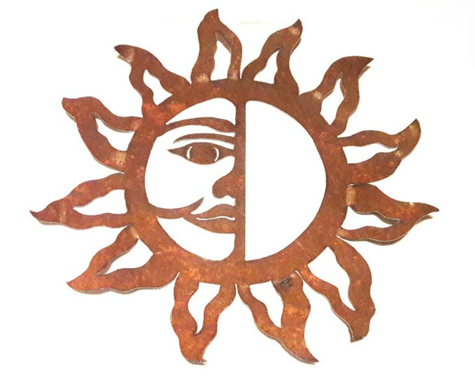 Sun Garden Art from Rusty Recycled Metal, Sun Wall Art, Rusted Metal Sun