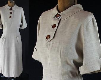 1940s Jack Mann Dress Bold Button Back On Sale