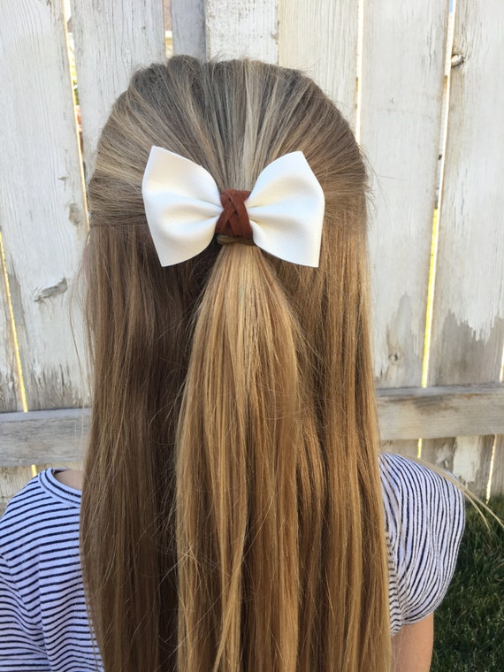 Cream Faux Leather Bow with Caramel Leather Accent